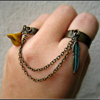 feather and flower double connected rings by alapopjewelry
