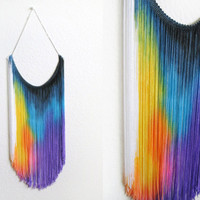 Splash Dyed HAND PAINTED Fringe Bib Yoke Collar by twostringjane