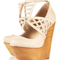 **BELLA BEA Lazercut Wood Wedges by CJG - Heels  - Shoes  - Topshop