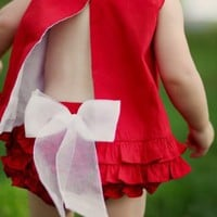 RuffleButts Toddler Girl Red w/ White Bow Ruffled Diaper Cover