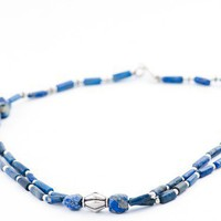 Vintage Moroccan necklace/ beaded lapis lazuri silver by DevikaBox