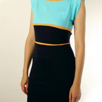 Blue Mini Dress - Womens Midnight Blue Orange Light | UsTrendy