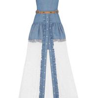 Alessandra Rich | Chambray mini dress and lace maxi skirt set | NET-A-PORTER.COM
