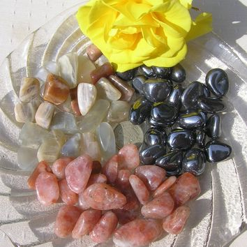 Moonstone, Sunstone & Hematite - 12 Crystal Tumblestones -  Earth, Sun and Moon Crystal Collection