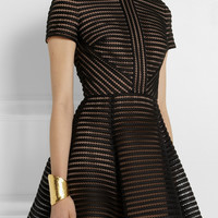 Elie Saab - Striped honeycomb-mesh and brushed-satin mini dress