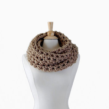 Oversized Rose Smoke Neutral Tone Crochet Cowl by crochetconcepts