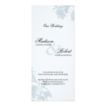Embassy Blue Floral Wedding Program Card