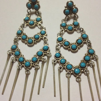 Navajo Turquoise Sterling Earrings Silver 925 Blue Petit Point Handmade Vintage Native American Tribal Southwestern Jewelry Gift