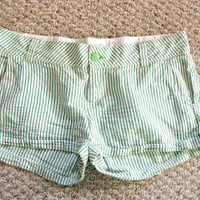 Green and White Striped Shorts by Peaceloveandclothes on Etsy