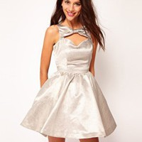 River Island | River Island Silver Bow Front Prom Dress at ASOS