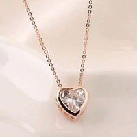 Sparkly Heart Rhinestone Fashion Necklace