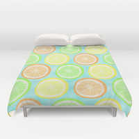 Citrus Wheels (Aqua) Duvet Cover by Lisa Argyropoulos | Society6