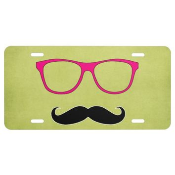 Hipster Mustache with Girly Pink Glasses