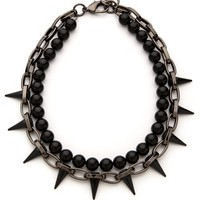 Black Out Chain & Spike Pearl Necklace
