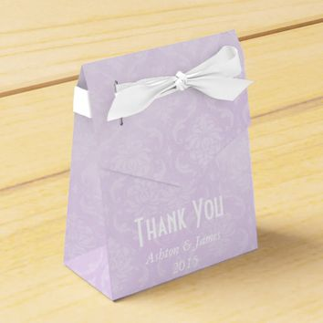 Lavender Damask Thank You Personalized Favor Box