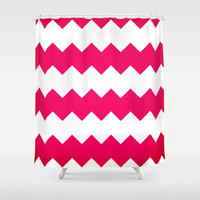 chevron pink Shower Curtain by  Alexia Miles photography