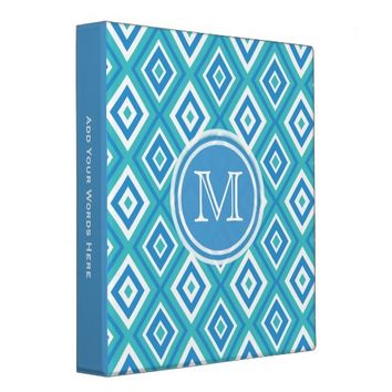 Monogram: Blue And White Diamond Print Binder