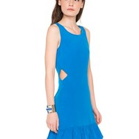 Blue Me Away Peplum Cutout Dress
