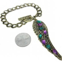 Vintage Multi-color Feather Link Bracelets for Ladies - Charm Bracelets - Bracelets