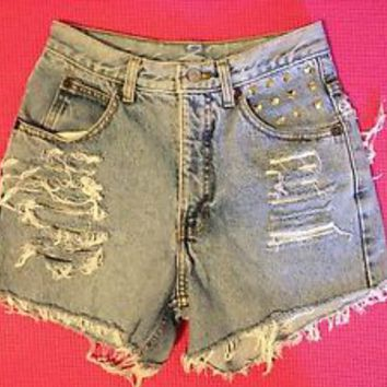 CALVIN KLEIN SHORTS HIGH WAIST SUPER DESTROYED SIZE 25 SIZE 2/3