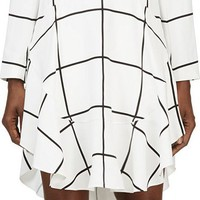 White Windowpane Check Flutter Dress