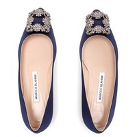 MANOLO BLAHNIK | Hangisi Embellished Satin Flats | Browns fashion & designer clothes & clothing