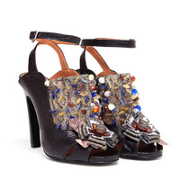 DRIES VAN NOTEN | Embellished Snakeskin Ankle Strap Sandals | Browns fashion & designer clothes & clothing