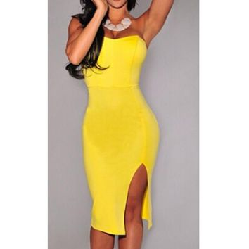Strapless Sweetheart Neckline and Slit Skirt