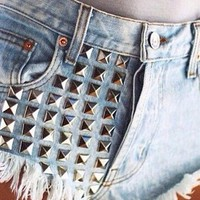 Studded High Waist Denim