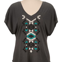 embroidered ethnic print poncho