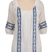 high-low embroidered tunic top