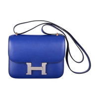 "THE ""IT"" BAG HERMES BLUE SAPPHIRE CONSTANCE 18cm PALLADIUM HARDWARE"