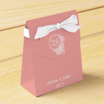 Coral Mr & Mrs Personalized Wedding Favor Box