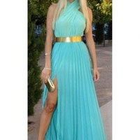 Crossover Pleated Chiffon Halter Maxi
