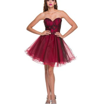 2014 Prom Dresses - Red Tulle & Black Lace Strapless Dress