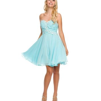 Preorder - Aqua Floral Lace Up Strapless Chiffon Dress Homecoming 2014