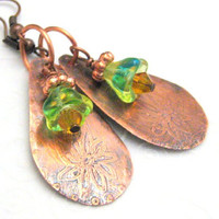 Etched Copper Flower Teardrop Earrings with by silverriverjewelry