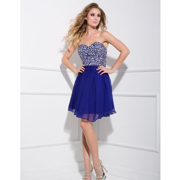 Royal Blue Sequin & Chiffon Strapless Short Prom Dress