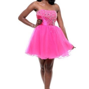 Fuchsia Beaded Tulle & Satin Strapless Empire Waist Prom Dress