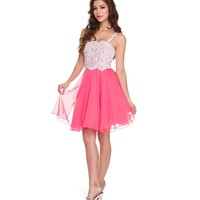 2014 Prom Dresses - Watermelon Chiffon & White Sequin Short Prom Dress