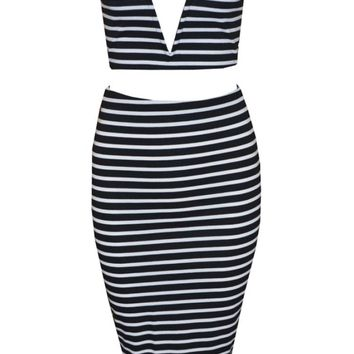 Striped Strapless Deep V Two-Piece