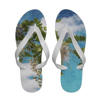 flowers in the sky Flip-Flops