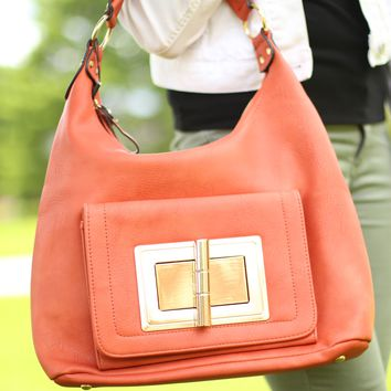 Lock and Key Handbag in Rust