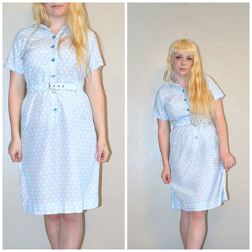 vintage 1950s seersucker baby blue polka dot sheath day dress / medium