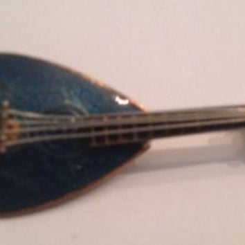 Vintage Blue Enamel Gold West Germany Mandolin Guitar Brooch Pin Jewelry