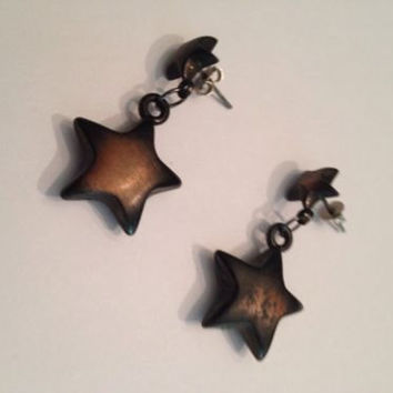Vintage Puff Copper Star Dangle Earrings Jewelry