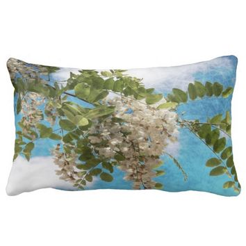 flowers in the sky lumbar Pillow