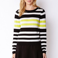 Striped Zipper Shoulder Sweater