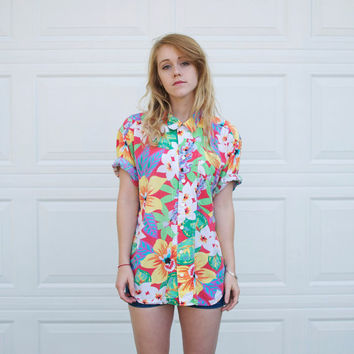 Vintage Floral Hawaiian Button Up - L