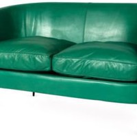 One Kings Lane - Kelly Wearstler: Santa Monica - 1970s Green Leather Loveseat
